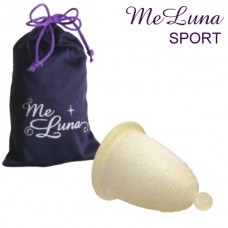 Meluna Menstrual Cup size L SPORT, gold glitter with knob